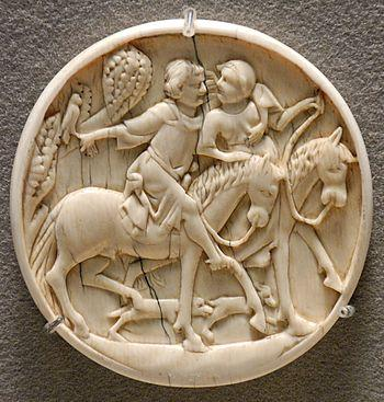 Riding couple, mirror case. Ivory with traces ...