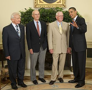 President Barack Obama chats with Apollo 11 as...