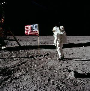 Buzz Aldrin salutes the U.S. flag on Mare Tran...