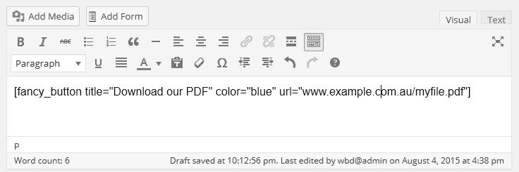 WordPress Shortcode Backend Example