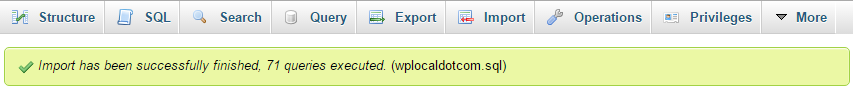 The WordPress database import was successful
