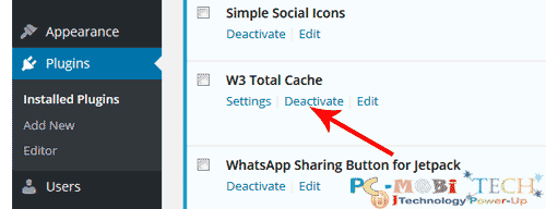 Uninstall W3 Total Cache, the right way
